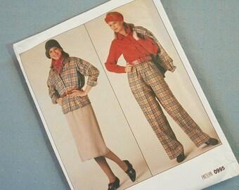 Vintage 80s Vogue 0995 Sewing Pattern Womans Suit Pants Size 14 16 18 L XL Large Extra Large Uncut Unused Clothing Clothes Skirt Blouse