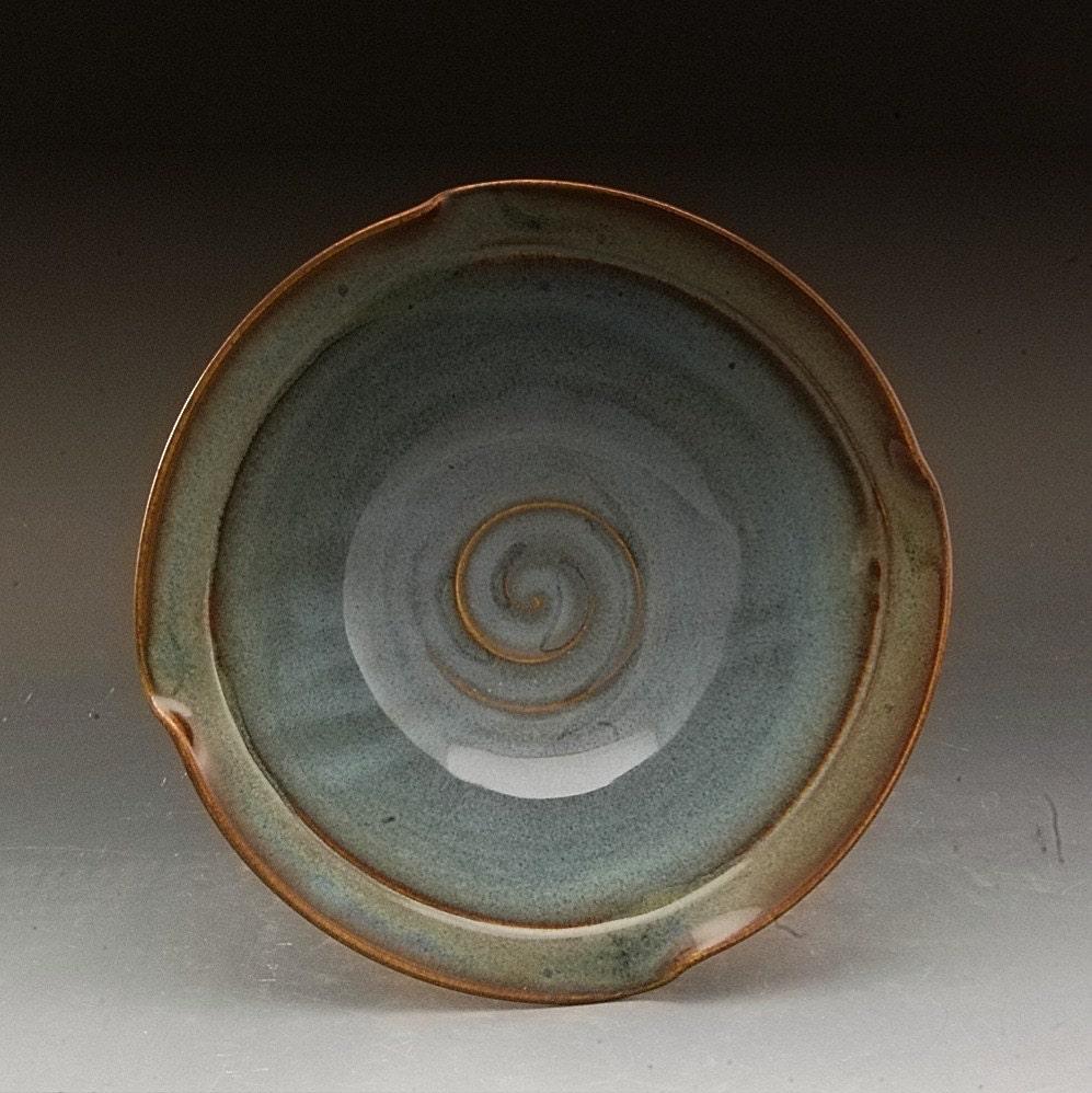 Handmade Blue Stoneware Pottery Bowl By Mark Hudak