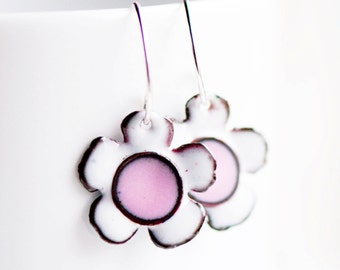 Cute Small Flower Enamel Earrings, Pink and White, Sweet Jewelry, Flower, Handmade Sterling Ear Wire, Hippie Boho Jewelry, Boho Chic