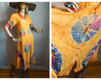 50% off Vintage Boho Hippie Tie Died Dress Size Medium
