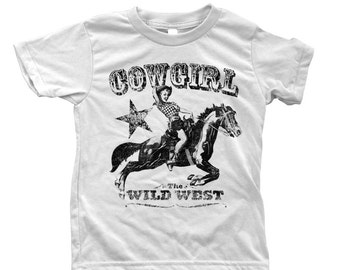 Cowgirl Kids Tshirt  Custom Hand Screen Printed American Apparel Crew Neck Available Size 2-12