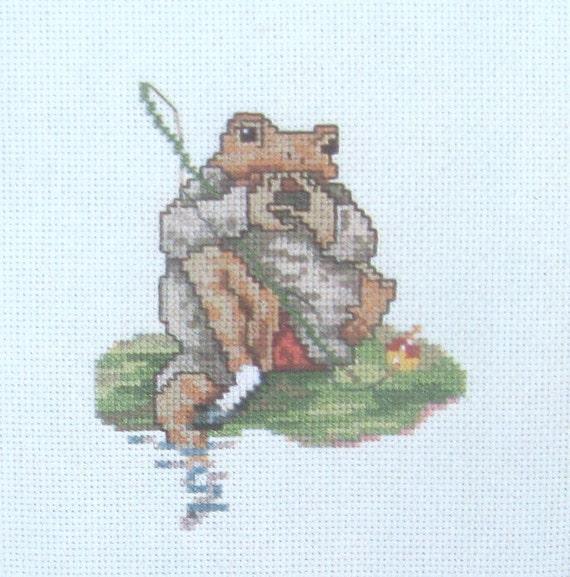 Knitting Pattern For Jeremy Fisher : cross stitch beatrix potter mr jeremy fisher sucking fingers CHART INSTRUCTIO...