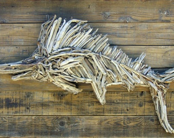Driftwood Blue Marlin Sculpture