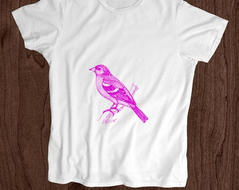 Toddler Shirt - Screen Printed Kids T Shirt -100% Cotton- Chaffinch Bird