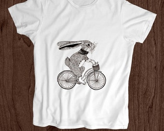 Toddler Shirt - Screen Printed Kids T Shirt -100% Cotton- Bunny on Bike