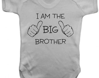 I Am The Big Brother Baby One Piece -  Baby Bodysuit - - 100% Cotton - Screen Printed