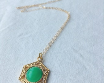 Green Asian Charm Necklace