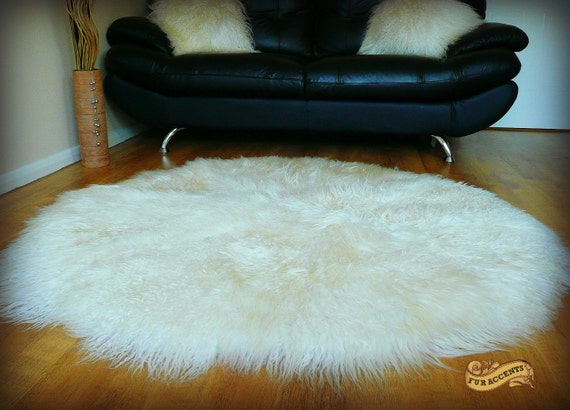 fur accents large round area rug shaggy mongolian sheepskin by furaccents etsy. Black Bedroom Furniture Sets. Home Design Ideas