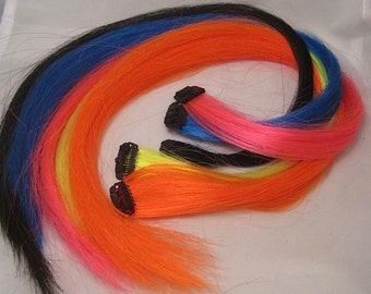 "Clip-in Synthetic Hair Extensions for Horses or People 18"" Set of 5"