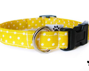Yellow polka dot dog collar & cat collar - adjustable with bell (optional), yellow and white