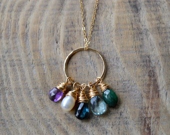 Custom Design Your Own Family Birthstone Necklace- 5 Stone Necklace in Gold or Silver- Anniversary, Birthday, Mother's Day, Just Because