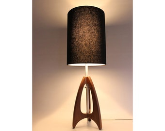 Tripod Table Lamp - Mid-Century Style - Walnut Wood - Black Shade - by Retro Grain