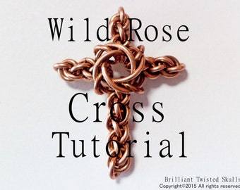 Tutorial for Wild Rose Cross Chain Maille Pendant by Brilliant Twisted Skulls