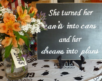 Dreams into plans hand painted sign