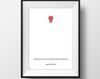 Imagination - Einstein Quote Poster A4  - Quality Art Print