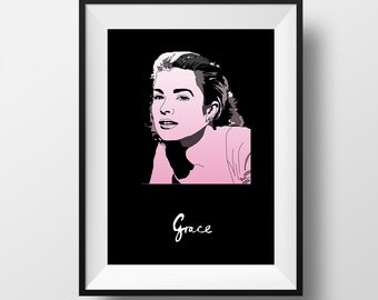 Grace Poster - Grace Kelly - Graphic Illustration 8x10 - Art Print