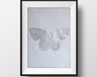 Silver Butterfly Original Line and Circle Illustration - Drawing - Art