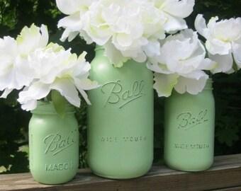 Mint Green or CUSTOM Color Painted Mason Jar -- Set of 3 Shabby Chic Vases in half gallon, quart & pint sizes -- wedding decor