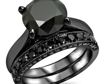 4.08ct Black Round Diamond Engagement Ring Bridal Set 14k Black Gold