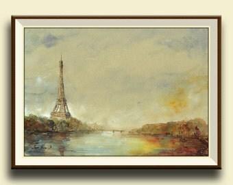 PRINT-Paris Eiffel tower - Seine river France architecture cityscape- Paris print wall decal - French decor Paris-Art Print by Juan Bosco