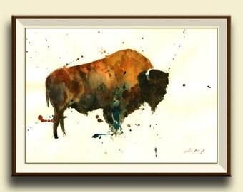 PRINT-Buffalo animal - North American Bison Buffalo forest art wall Buffalo nursery decor- Art Print by Juan Bosco