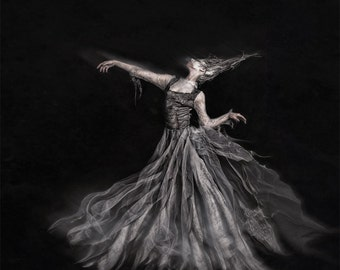 Ghost of the Revolution is a fine art photography print of a haunting specter of the past dancing in the darkness
