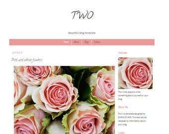 Premade Blogger template Minimal Design Pink white simple clean instant download