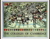 Art Print Cambridge University Colleges 1950s Poster Print 8 x 10
