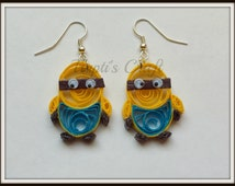 Paper Quilling Minion Earrings