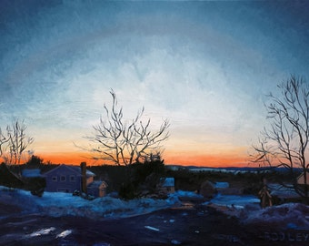 """February Night, Oil on 18x24"""" canvas, by Sean Bodley Plein Air Oil Landscape Painting - State College - Pennsylvania Painting"""