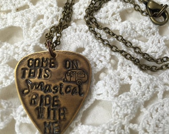 Come On This Musical Ride With Me Hanson Lyric Charm Brass 20 Inch Necklace