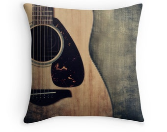 Guitar Photo Pillow Cover, Decorative Throw Pillow Cover, Guitarist Gift, Guitar Art , Music Room Decor, Rustic Brown Blue Musical Decor,