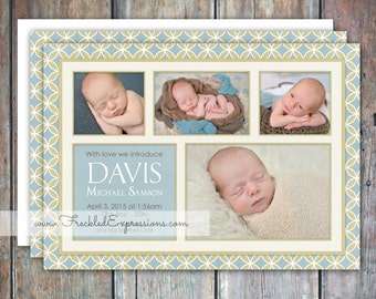 Baby Boy Birth Announcement-Mod Circles