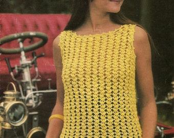 "Vintage Crochet Pattern  Summer Top Sun top 1960's (34-38"")  PDF Instant Download"