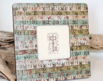 Retro Decor, Ruler photo frame, Ruler Decor, Decoupaged wood frame