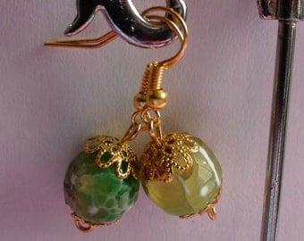 Handmade earrings.Dangle earrings.Women's jewelry.Natural stone bead earrings.Green earrings.