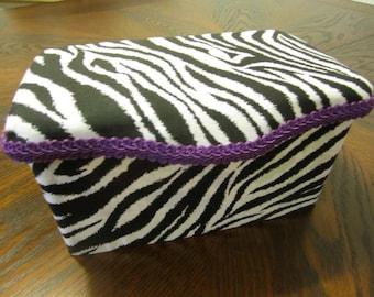 Zebra with purple baby wipe case