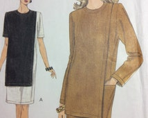 Vogue Dress Pattern Multi-Size 12 14 16 Vogue 9036 Very Loose-fitting, Straight Pullover Dress Pattern Boxy Dress Pattern Pocket