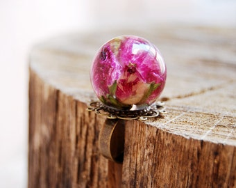 Rose resin ring, resin oversized ball ring, adjustable ring, rose jewelry,resin ring, handmade ring, summer finds, flower jewelry, pink rose