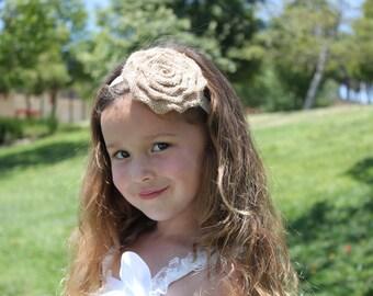 Burlap Rose Headband/ Flower Girl Headband/ Photo Shoot