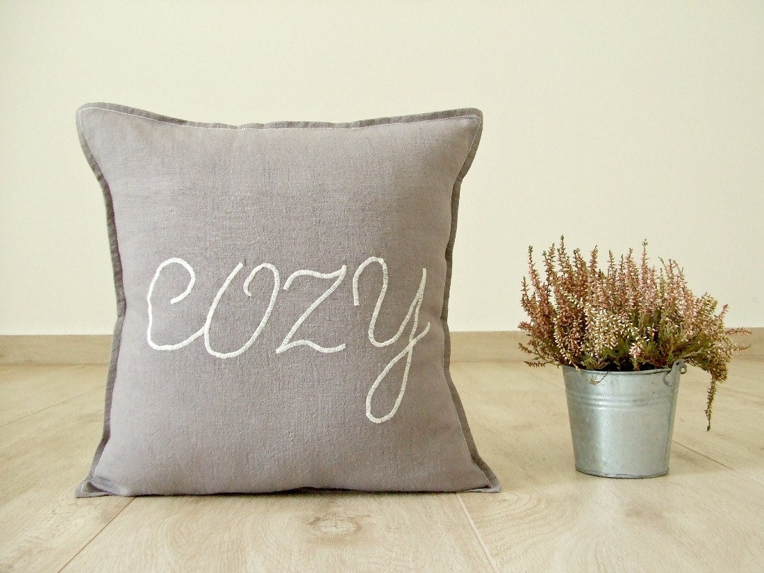 Cozy pillow cover brown linen pillow cover country pillow for Cup cozy pillow