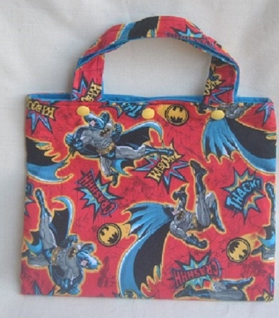 Superhero tote bag and crayon roll kids arts and crafts for Arts and crafts tote bags