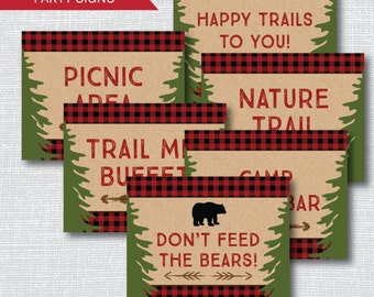 INSTANT DOWNLOAD - Printable Boy Camping Party Signs - Boy Camping Themed Birthday - Set of Six Party Signs