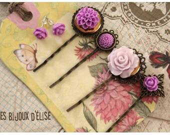 4 pcs Antique Bronze Hair Pins with Purple Flower Cabochon - Gift (HP7)