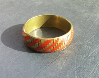 Collectible Bling Middle Eastern Style Brass and Red Bangle Bracelet Costume Jewelry