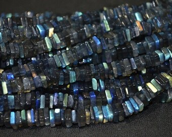 Beautiful Natural Blue Flash Labradorite Square Heishi Cut smooth Beads 5-6 mm