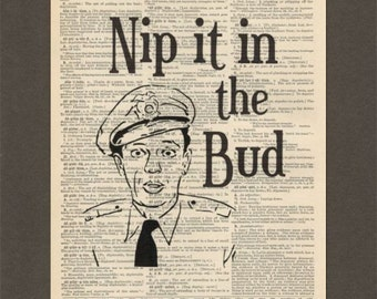 Barney Fife, Nip It In the Bud, Dictionary Art Print, Upcycled Dictionary Page, Old Book Art, Decorative Wall Art, 019
