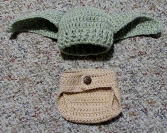 Crochet Star Wars Newborn Yoda Hat and Diaper Cover/soaker photo prop made to order