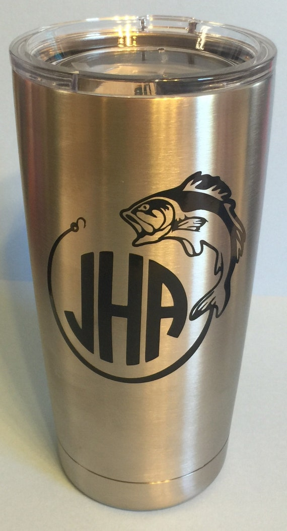 Hooked fish personalized decal for yeti tumbler with monogram for Fishing yeti decal