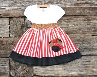 Pirate Princess Shirt Dress for Girls  Sizes 6m-12yrs.  By Hoot n Hollar Children's Clothing